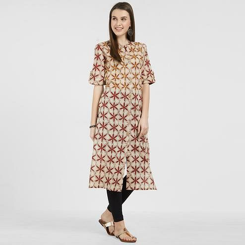 Breathtaking Beige Colored Casual Wear Printed Cotton Kurti