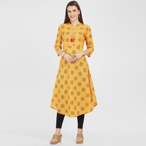 Impressive Mustard Yellow Colored Casual Wear Printed Cotton Kurti
