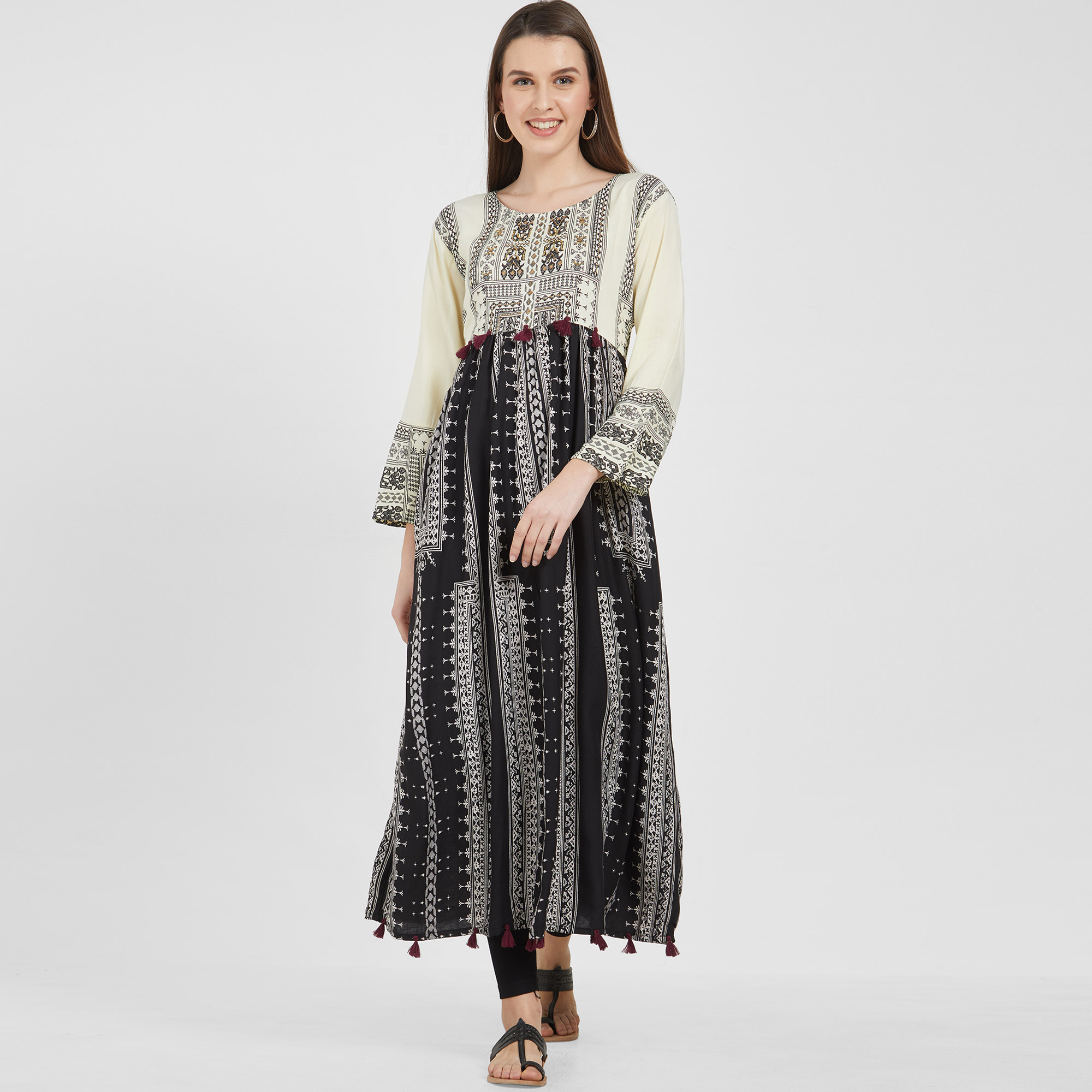 Flamboyant Black-Off White Colored Partywear Printed Cotton Kurti