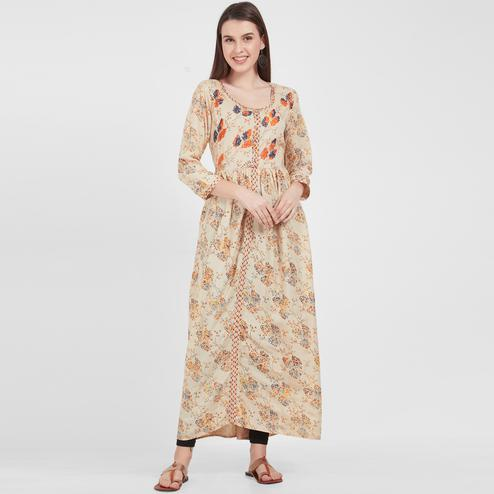 Ethnic Beige Colored Casual Wear Printed Cotton Kurti
