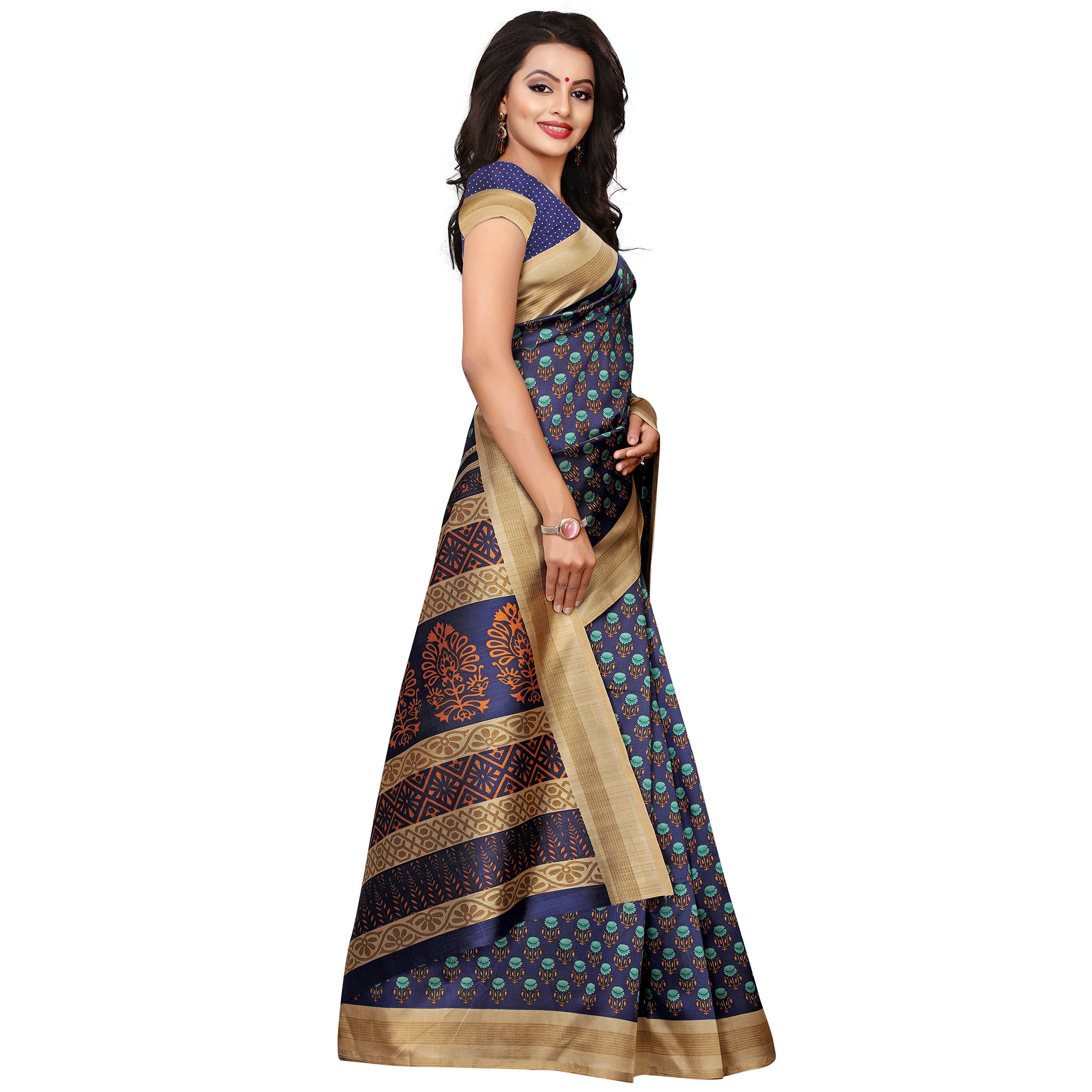 Opulent Navy Blue Colored Casual Wear Printed Art Silk Saree