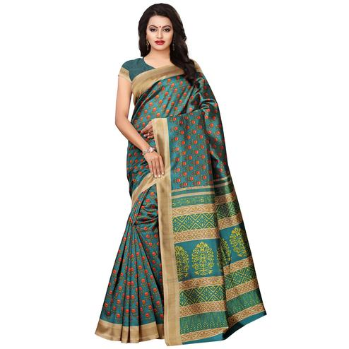 Energetic Rama Green Colored Casual Wear Printed Art Silk Saree