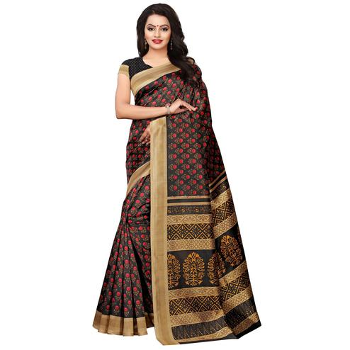 Glowing Black Colored Casual Wear Printed Art Silk Saree