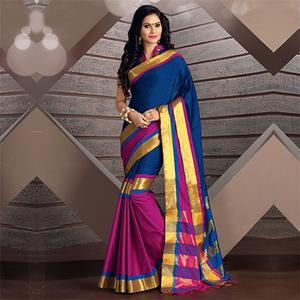 Blue - Pink Art Silk Saree