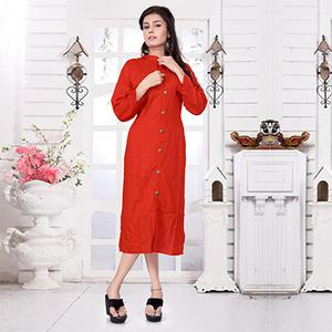 Adorable Red Casual Wear Rayon - Slub Kurti
