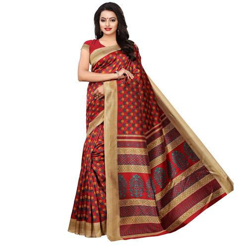 Gleaming Red Colored Casual Wear Printed Art Silk Saree