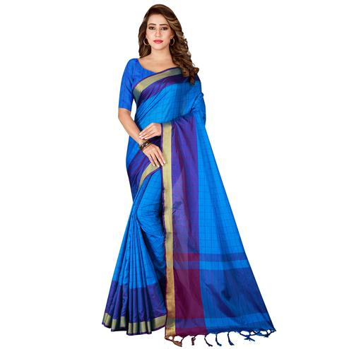 Mesmeric Blue Colored Festive Wear Woven Tussar Silk Saree