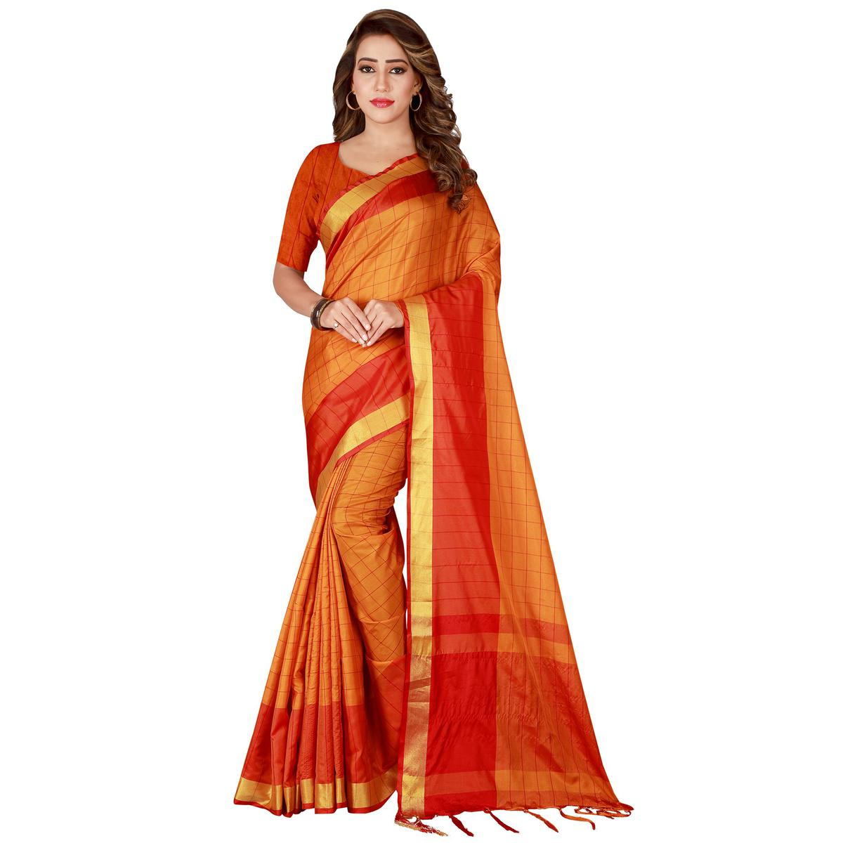 Unique Orange Colored Festive Wear Woven Tussar Silk Saree