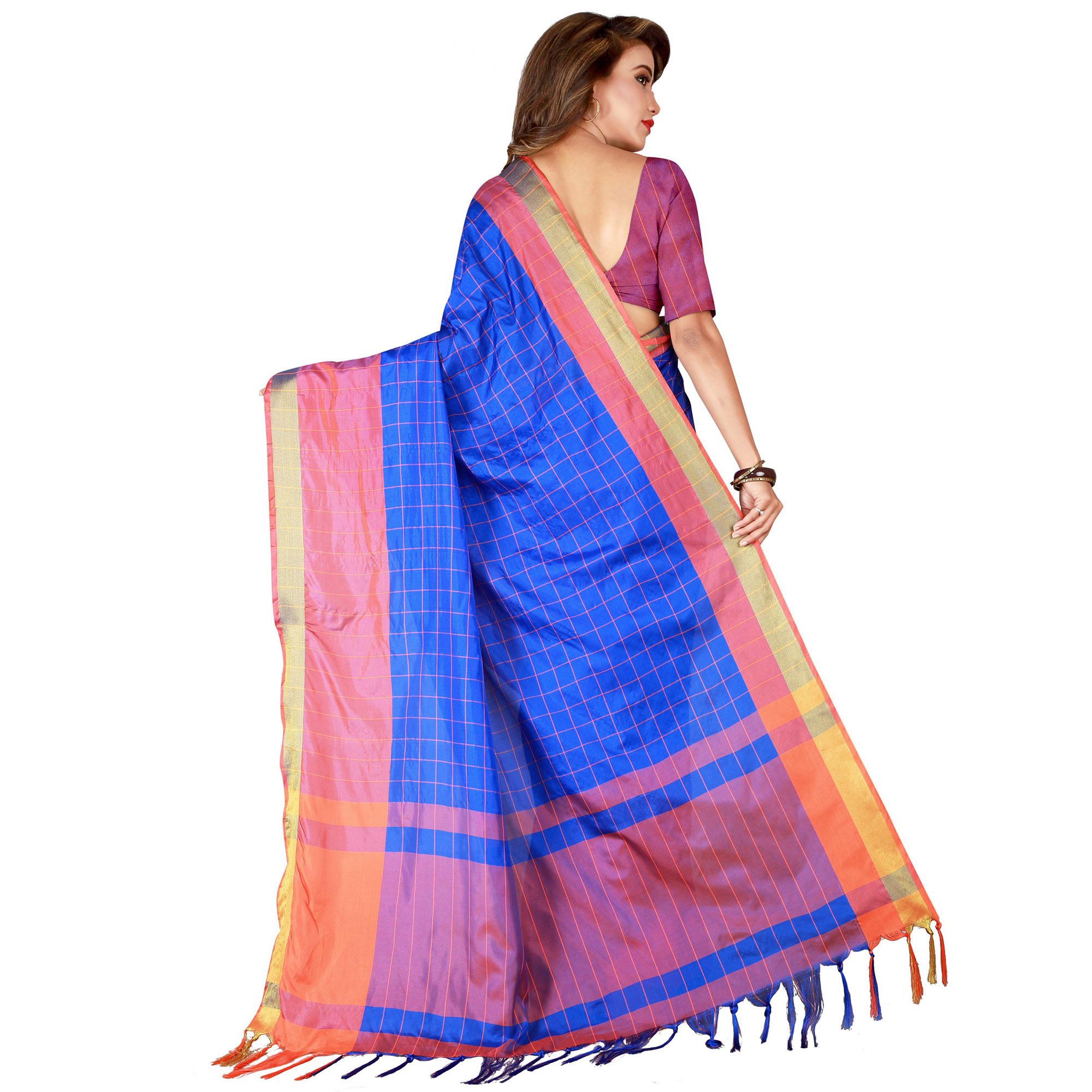 Demanding Blue Colored Festive Wear Woven Tussar Silk Saree