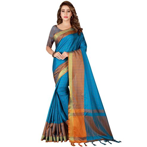 Refreshing Dark Sky Blue Colored Festive Wear Woven Tussar Silk Saree