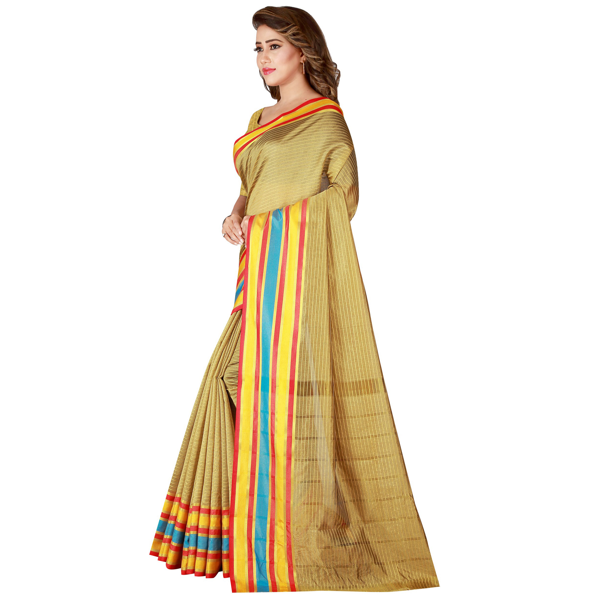 Magnetic Golden Colored Festive Wear Woven Tussar Silk Saree