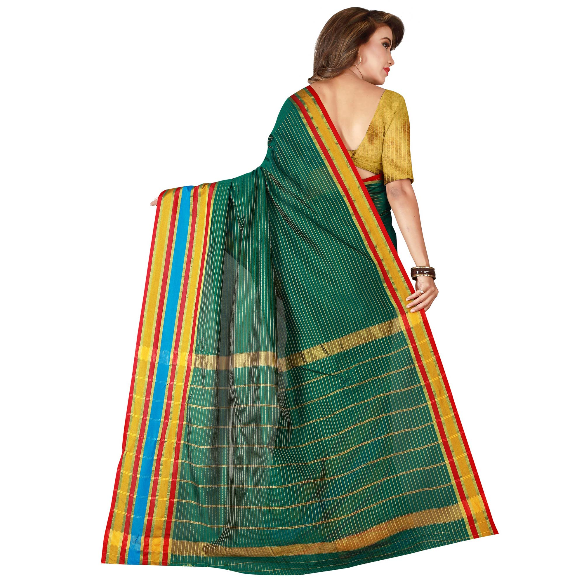 Hypnotic Dark Green Colored Festive Wear Woven Tussar Silk Saree