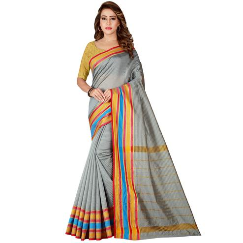 Elegant Grey Colored Festive Wear Woven Tussar Silk Saree