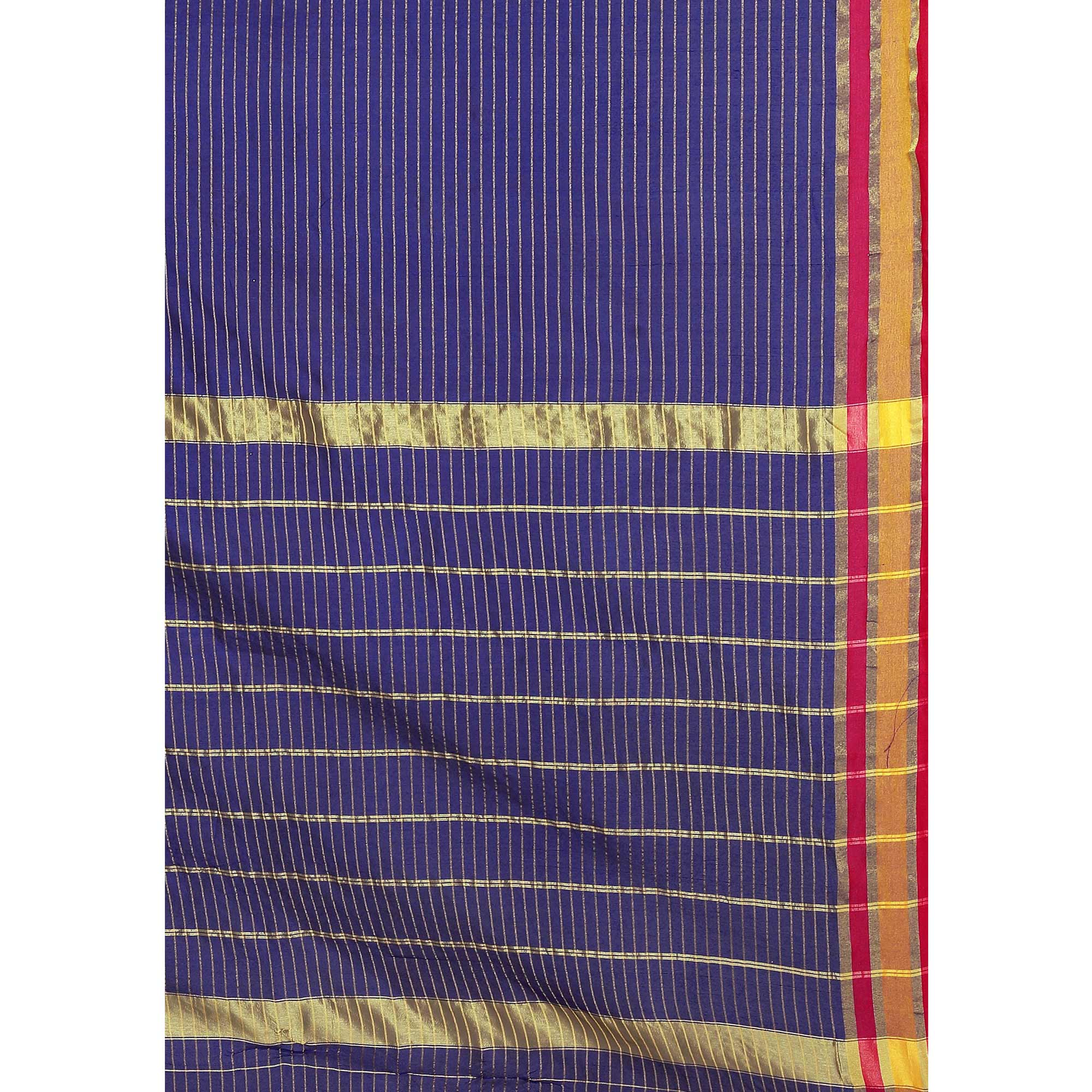 Excellent Navy Blue Colored Festive Wear Woven Tussar Silk Saree