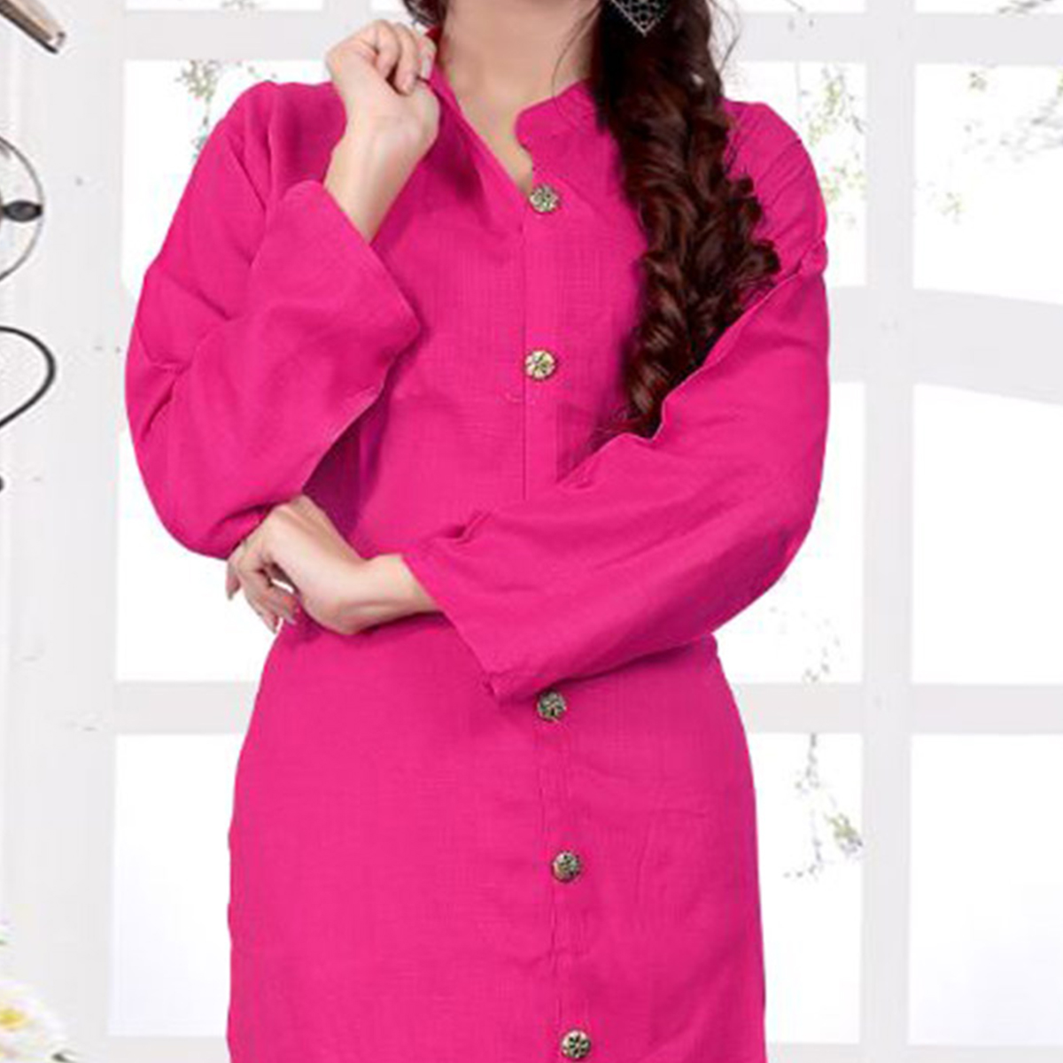 Lovely  Pink Casual Wear Rayon - Slub Kurti