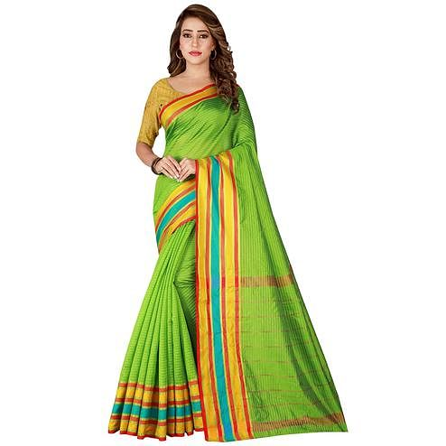 Breathtaking Green Colored Festive Wear Woven Tussar Silk Saree