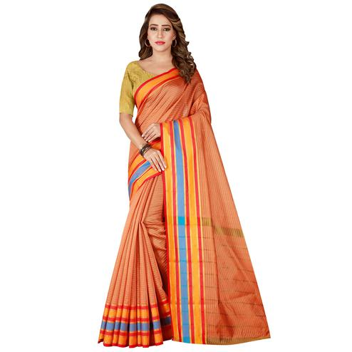 Impressive Peach Colored Festive Wear Woven Tussar Silk Saree