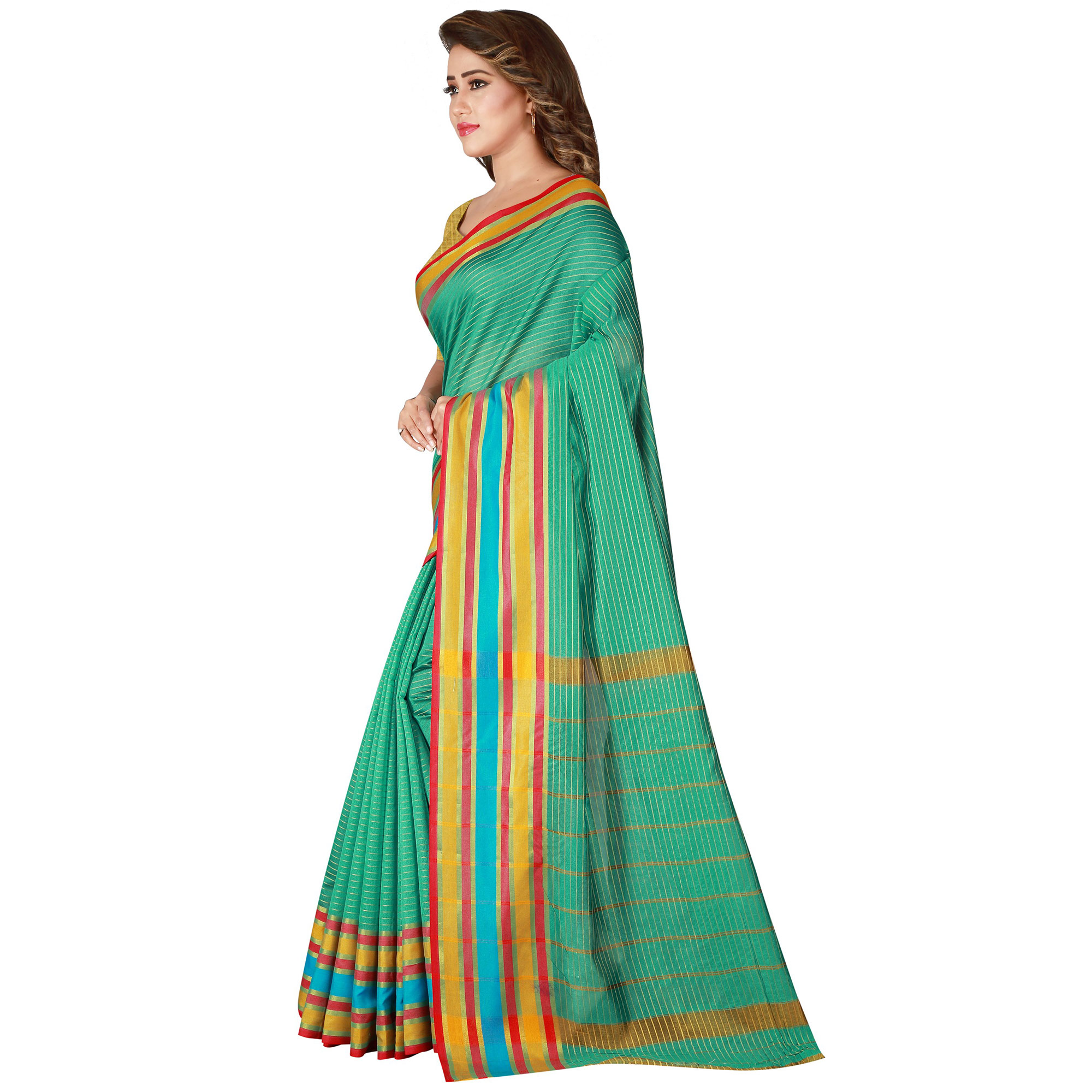 Flamboyant Turquoise Green Colored Festive Wear Woven Tussar Silk Saree