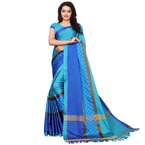 Groovy Sky Blue Colored Festive Wear Woven Tussar Silk Saree