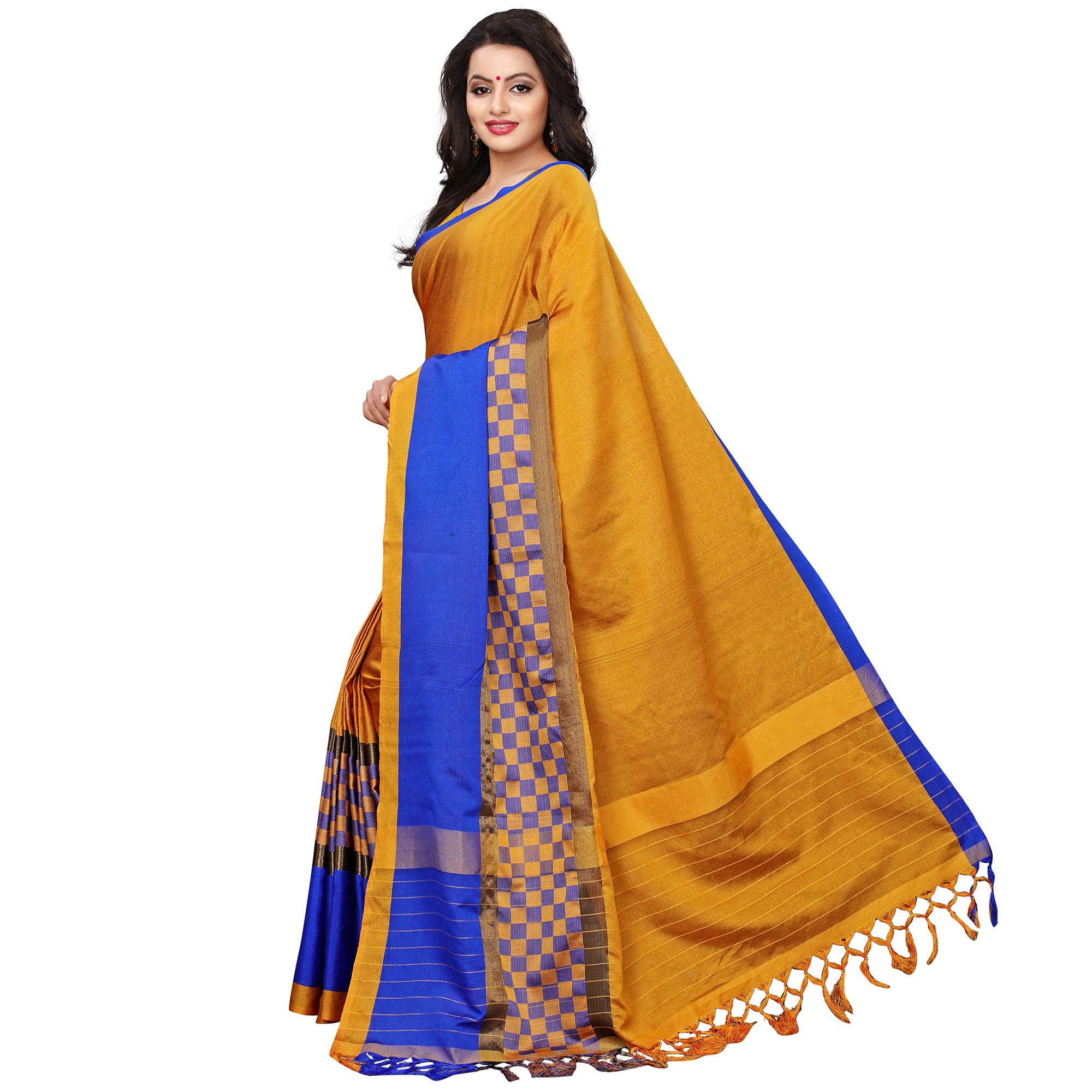 Prominent Mustard Yellow Colored Festive Wear Woven Tussar Silk Saree
