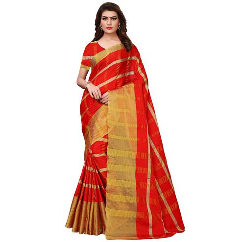 Mesmeric Red Colored Festive Wear Woven Tussar Silk Saree