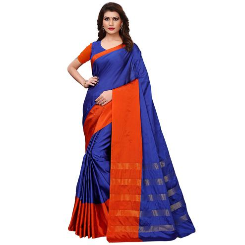 Unique Blue Colored Festive Wear Woven Tussar Silk Saree