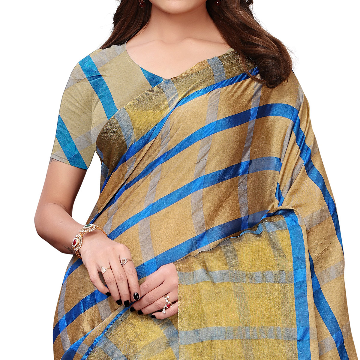 Prominent Golden Colored Festive Wear Woven Tussar Silk Saree