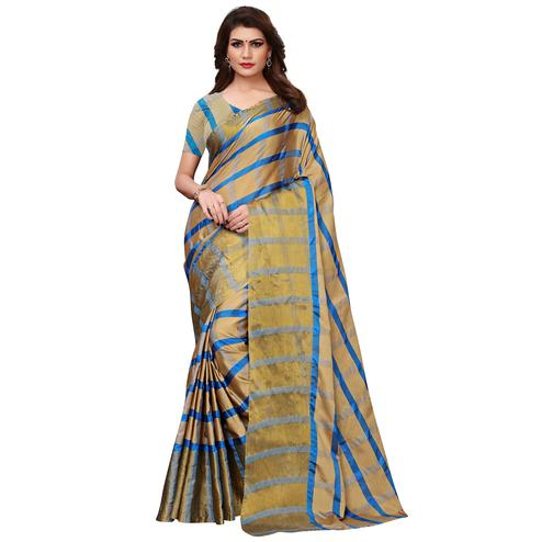 89ddfeb12822b4 Prominent Golden Colored Festive Wear Woven Tussar Silk Saree