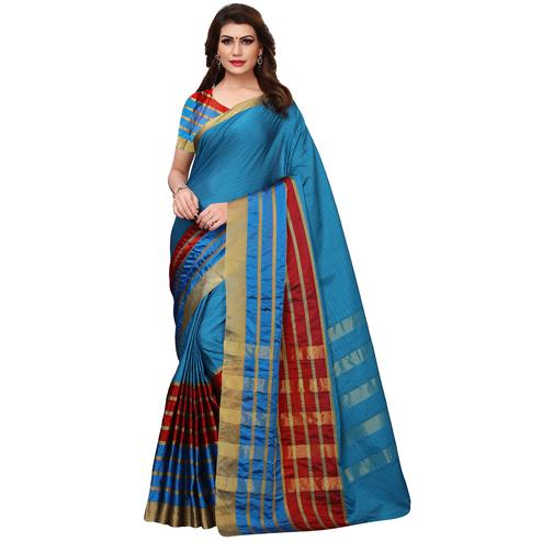 Innovative Dark Sky Blue Colored Festive Wear Woven Tussar Silk Saree