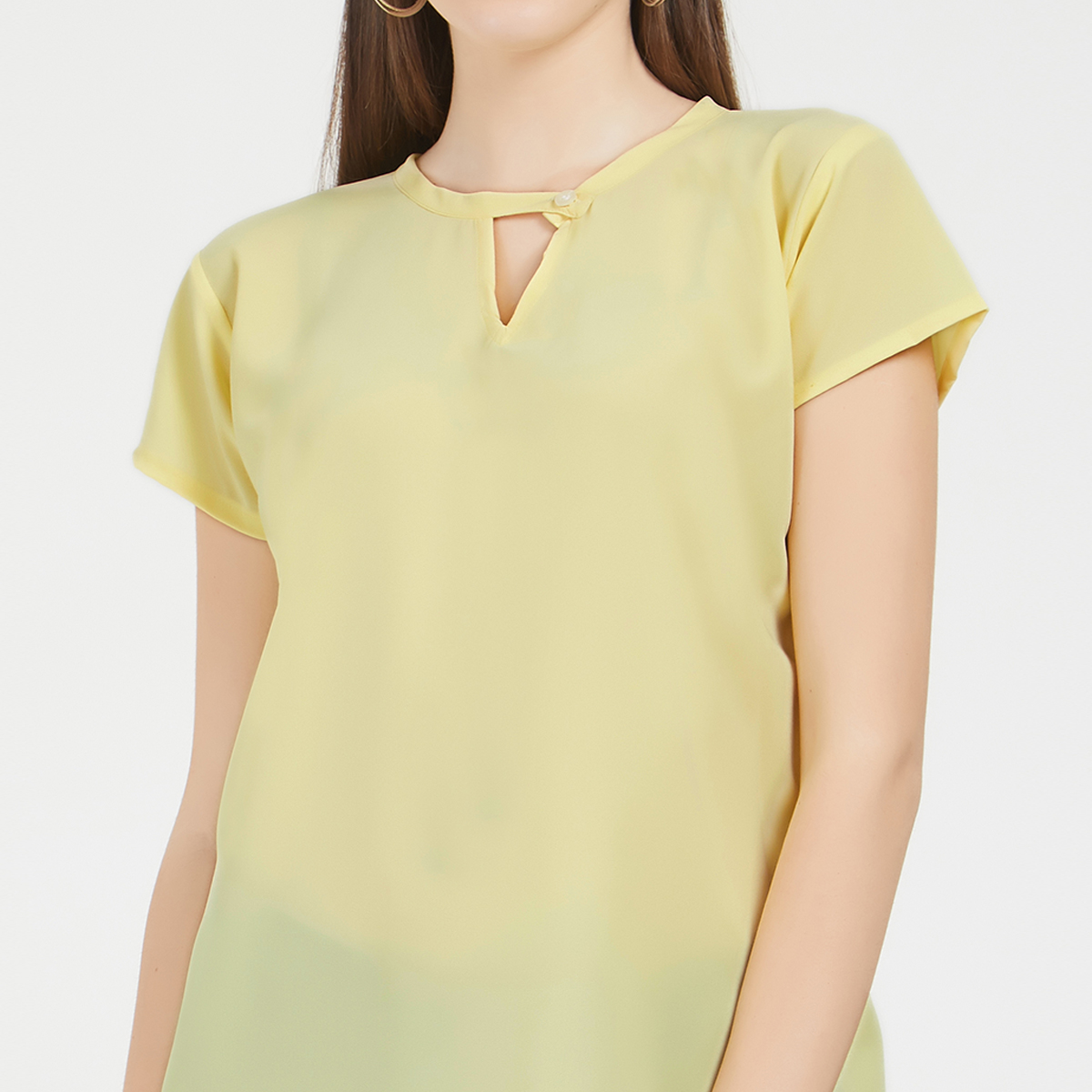 Classy Yellow Colored Casual Wear Crepe Top