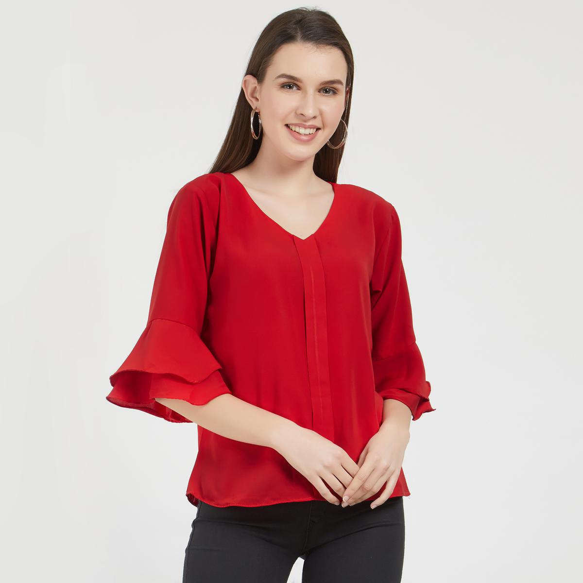 Stylish Red Colored Partywear Crepe Top