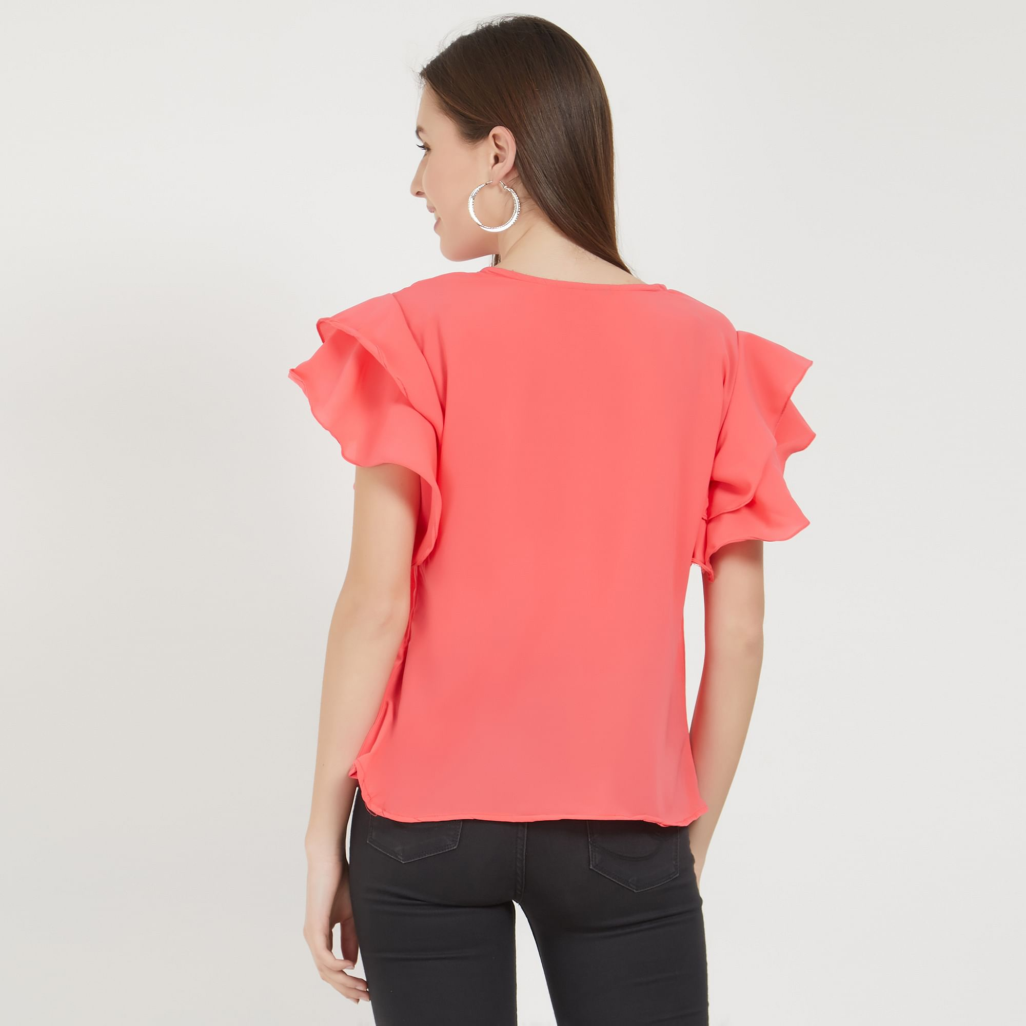 Fantastic Pink Colored Partywear Crepe Top