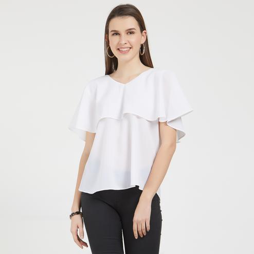Impressive White Colored Partywear Crepe Top