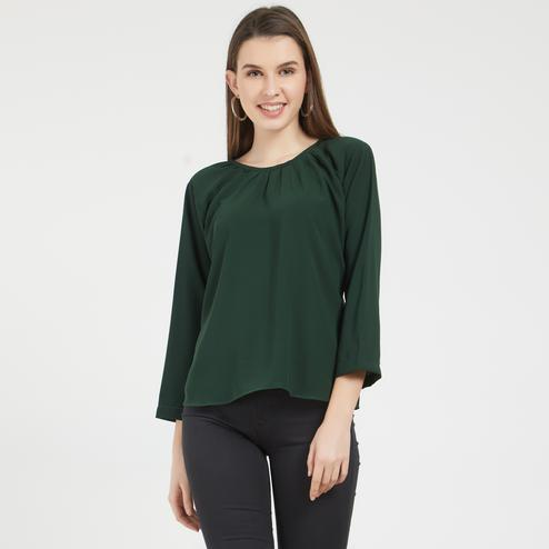 Amazing Dark Green Colored Casual Wear Crepe Top