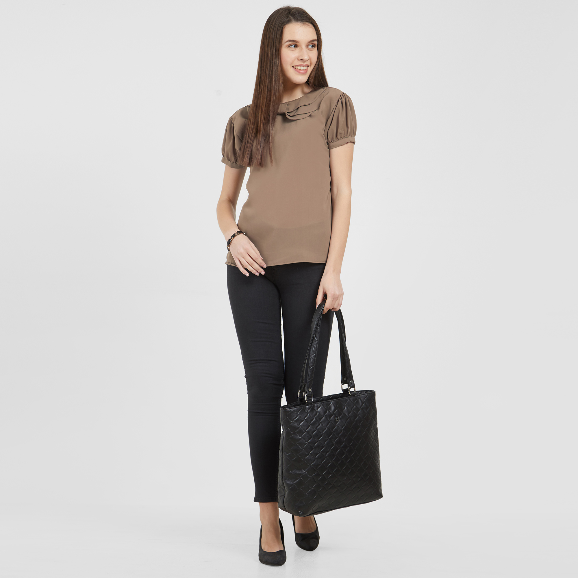 Lovely Light Brown Colored Casual Wear Crepe Top