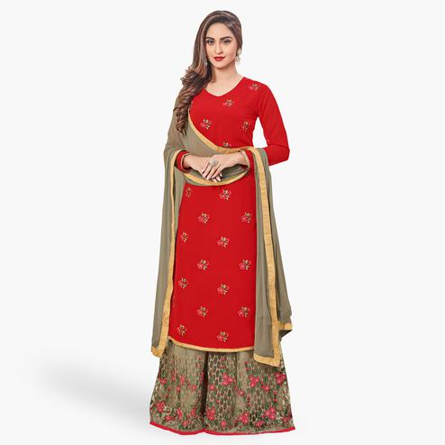 Glorious Red Colored Party Wear Embroidered Georgette Palazzo Suit