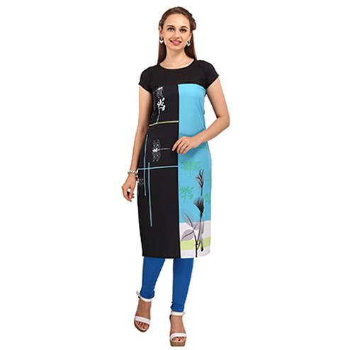 Black - Blue Casual Printed Kurti
