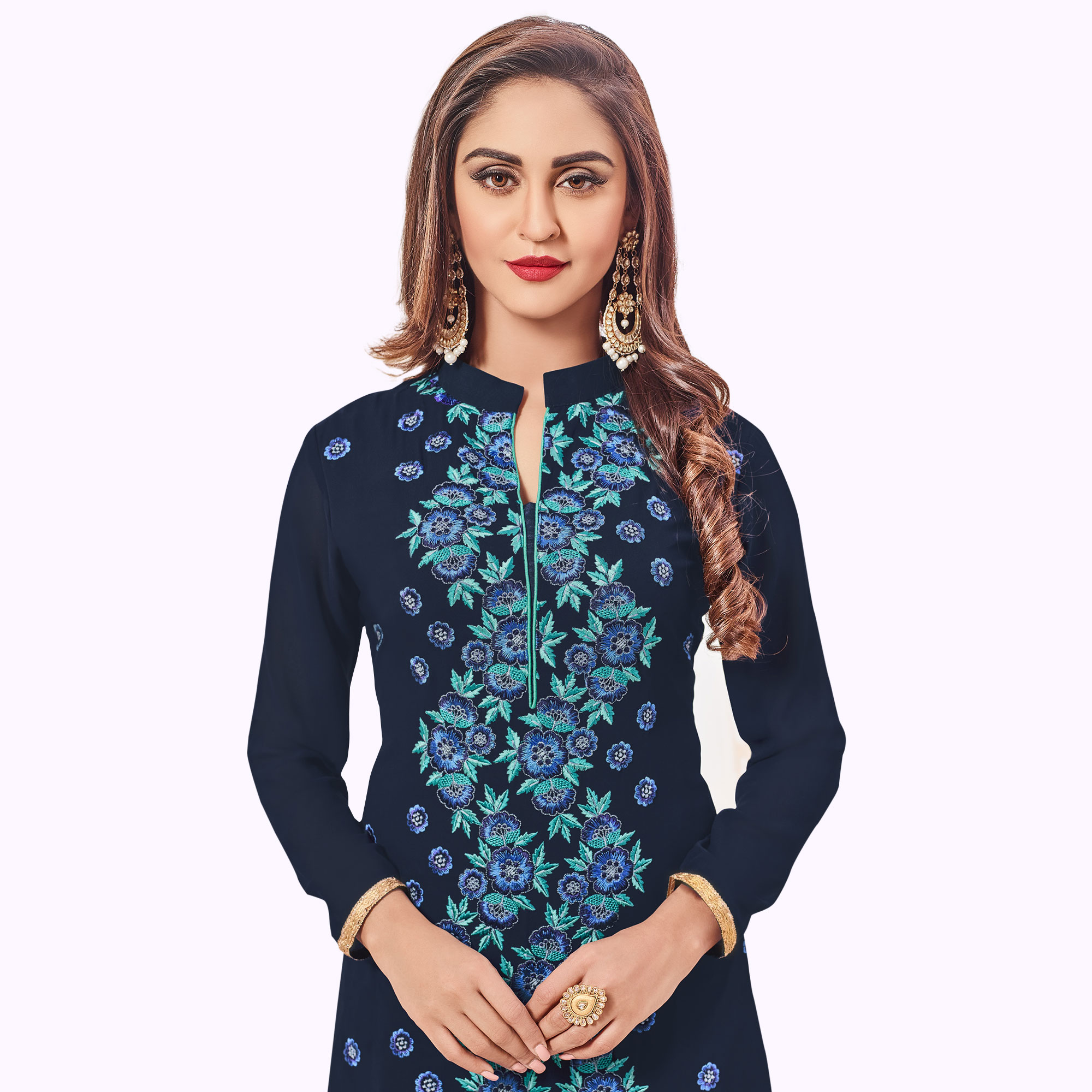 Elegant Navy Blue Colored Party Wear Embroidered Georgette Palazzo Suit