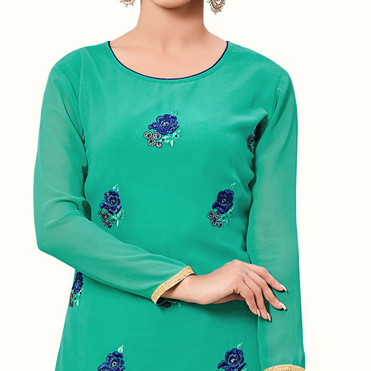 Ideal Turquoise Green Colored Party Wear Embroidered Georgette Palazzo Suit