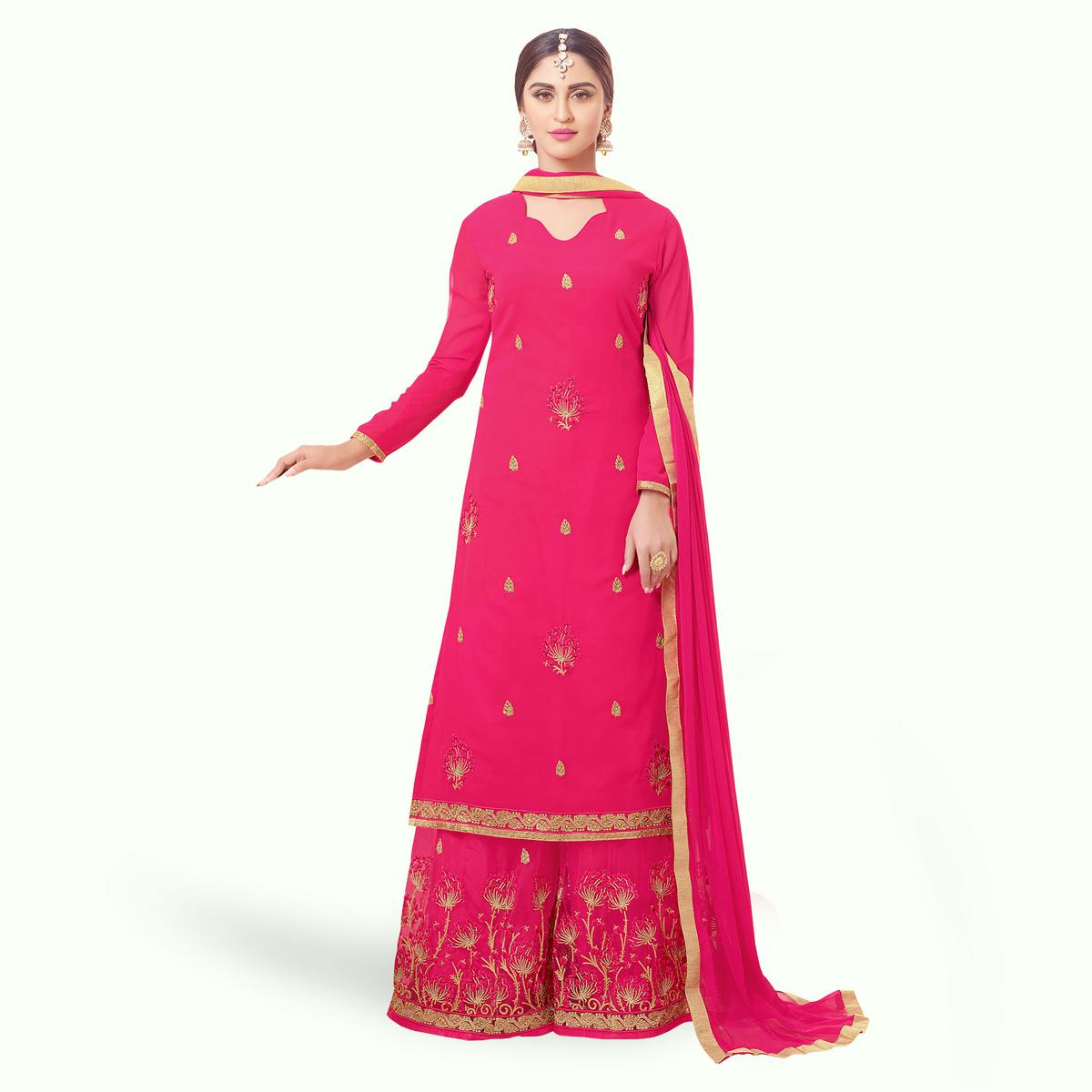 Imposing Dark Pink Colored Party Wear Embroidered Georgette Palazzo Suit