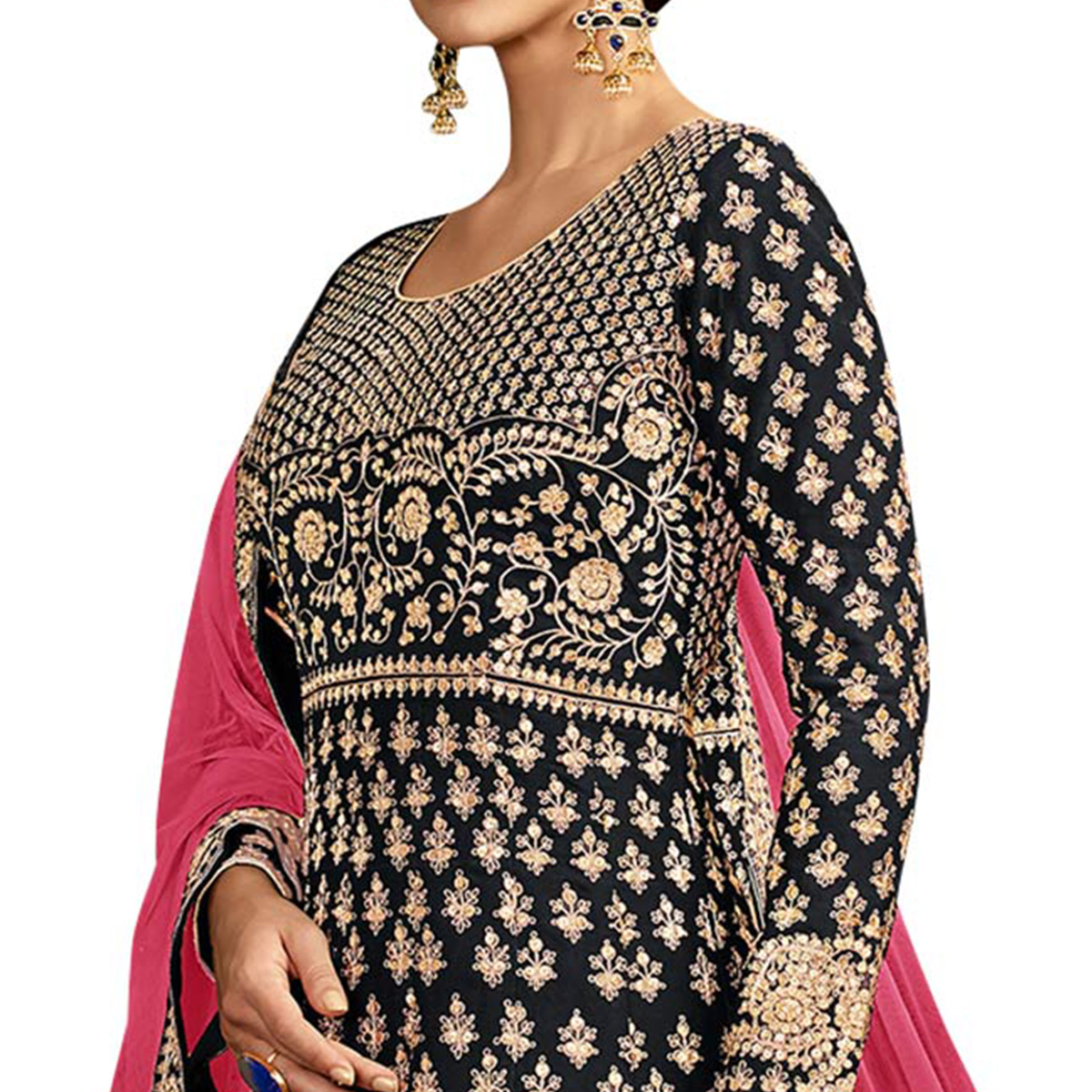 Pleasant Black Colored Partywear Embroidered Mulberry Silk Anarkali Suit