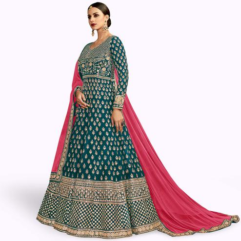 Opulent Teal Blue Colored Partywear Embroidered Mulberry Silk Anarkali Suit