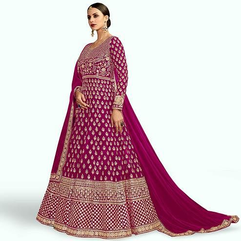 Alluring Magenta Colored Partywear Embroidered Mulberry Silk Anarkali Suit