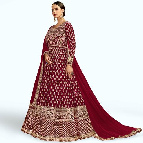 Sensational Maroon Colored Partywear Embroidered Mulberry Silk Anarkali Suit