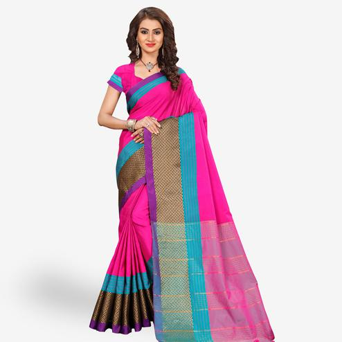 Delightful Pink Colored Festive Wear Woven Tissue Silk Saree