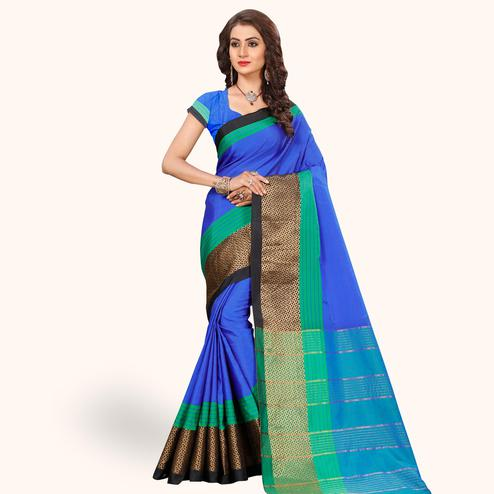 Entrancing Royal Blue Colored Festive Wear Woven Tissue Silk Saree