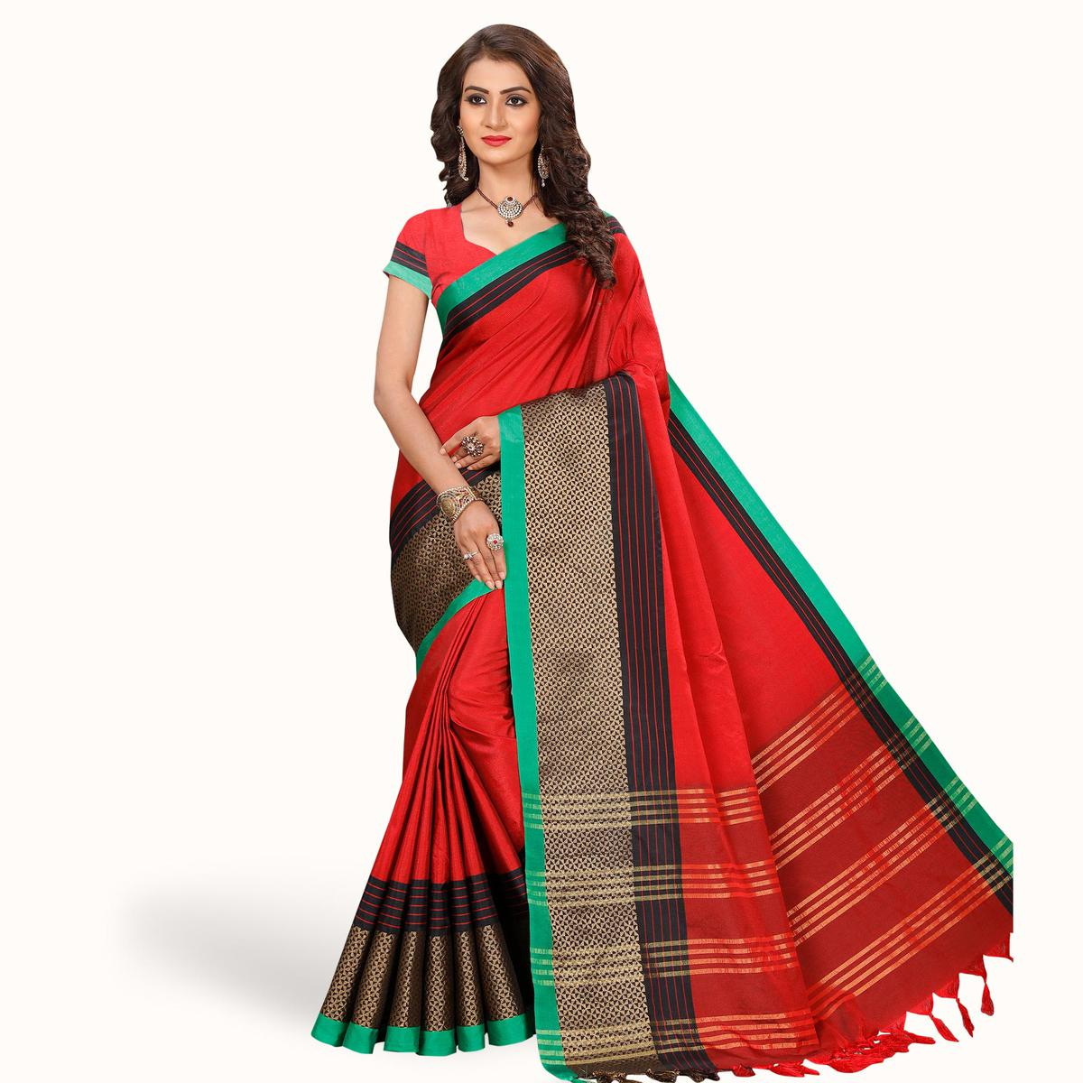 Eye-catching Red Colored Festive Wear Woven Tissue Silk Saree