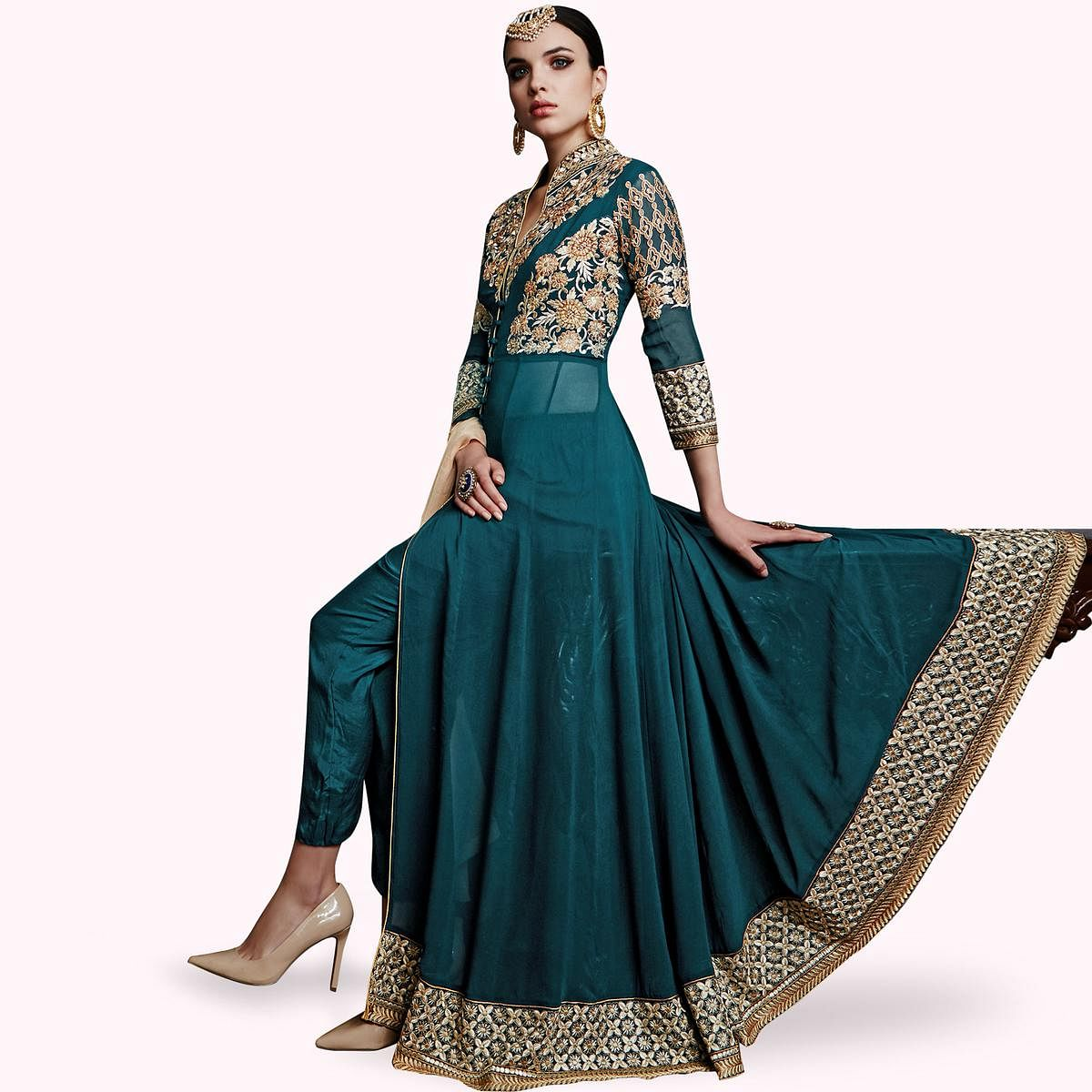 Stunning Turquoise Green Colored Partywear Embroidered Faux Georgette Anarkali Suit