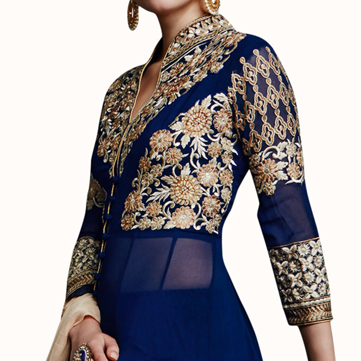 Fantastic Navy Blue Colored Partywear Embroidered Faux Georgette Anarkali Suit