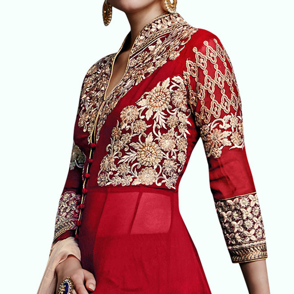 Alluring Red Colored Partywear Embroidered Faux Georgette Anarkali Suit
